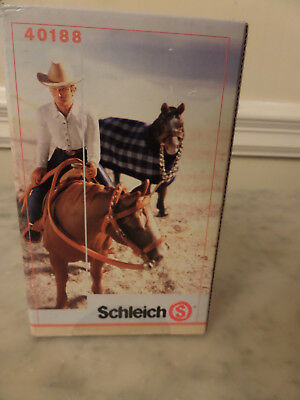 Schleich 40188 New In Box Cowboy, Horse Saddle, Horse Blanket