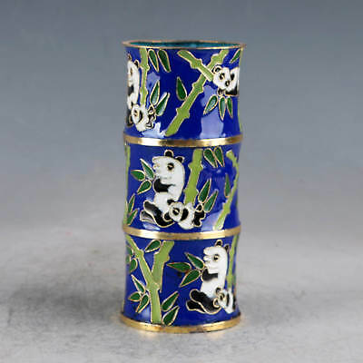 Chinese Cloisonne Hand-made Panda&Bamboo Brush Pots JTL1031+a