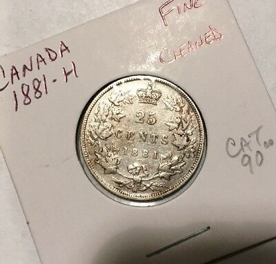 Canada 25c 1881-H.   Fine.  Cleaned