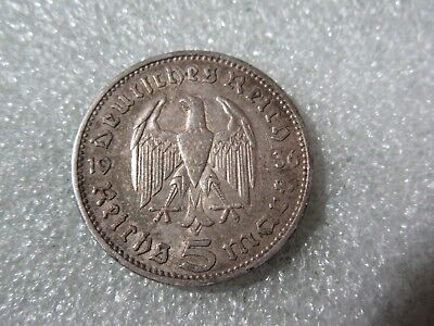 "German Reich 1936  ""a""   5 Mark    Silver   Coin"