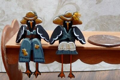 Cute 1:12 Scale Miniature Karen Markland Mr. and Mrs. Crow