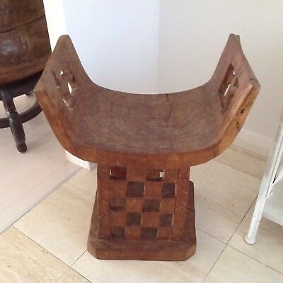 African, Tribal hand carved wooden decorative stool Tanzania