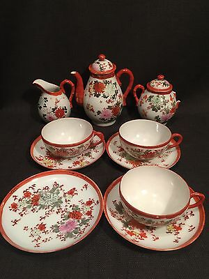 Vintage Antique Japanese Orange Kutani Floral Eggshell Tea Set