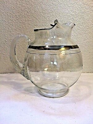 Vintage mid century clear glass pitcher silver stripe cocktail pinched spout