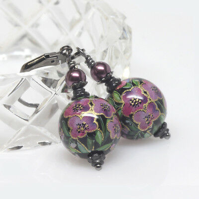 Pink Purple Floral Japanese Tensha Earrings, Petite Tensha Bead Earrings