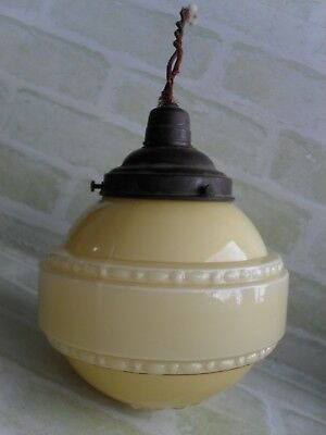 STUNNING ANTIQUE MID 50's DECORATIVE ART GLASS LAMP SHADE - CEILING SHADE