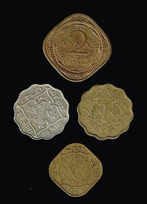 INDIA - British Rule:- 4 different Kings George V & VI circulation coins. AP6954