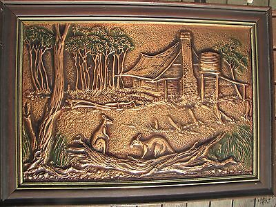 COPPER Wall ART - KANGAROOS By The COTTAGE - Retro - signed?