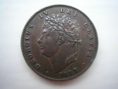 1827 Copper Third of a Farthing George iv