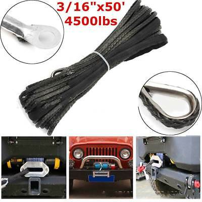 3/16''X50' 5800LBs Synthetic Winch Line Cable Rope for Car SUV ATV Vehicle Grey