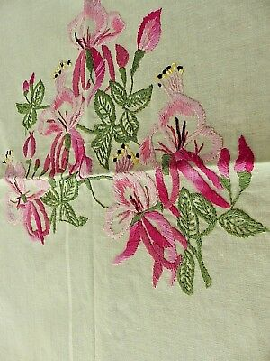 Vintage hand embroidered and crocheted Fuchsia flower tablecloth
