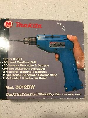 Vintage Makita  Drill 7.2V 1980's with charger and battery and box - working.