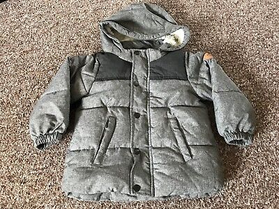 Boys H&M Grey Padded Warm Coat Hooded Jacket Size Age 18-24 months 1.5-2 Years
