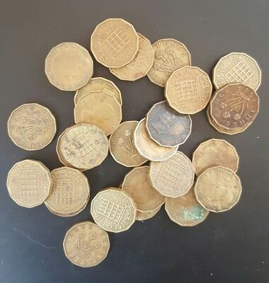 1937-1967 Brass Threepence (27 Coins in Total) Circulated. Some Duplicates,,,