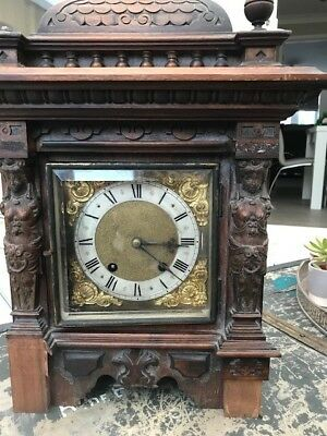 Antique Architectural Carved Mahogany Bracket Clock Spares or Repair
