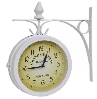 Vintage Retro Wall Mounted Clock Home Office Decorative Dual Side Station Style