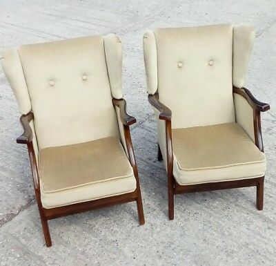 Pair Of Vintage Wingback Chairs. Low Level Armchairs. Interesting.