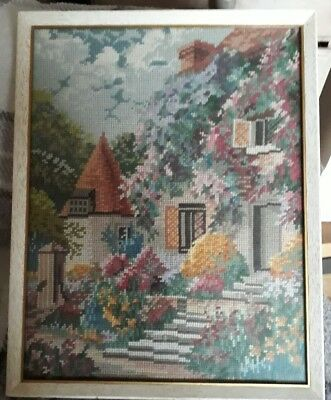Vintage Tapestry / Embroidery Cottage with Turret  in Mid 20C  glazed frame
