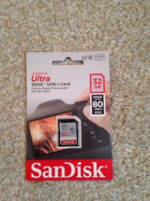 SanDisk Ultra 32GB SD Card SDHC UHS-I Speeds Up To 80MB/s Brand New Sealed
