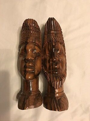 "Treen Mr & Mrs/ Male/Female African Carved Head Figures 9""high"