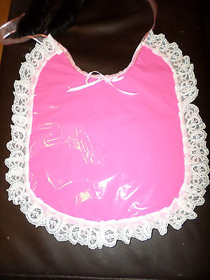 Pink Pvc Adult Baby Sissy Bib Lace Trimmed Ribbon Ties Plastic Backed