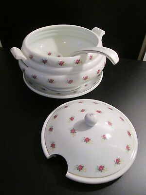 Nice Large White w/ Red Rose Porcelain Soup Tureen w/ Under plate & Ladle China