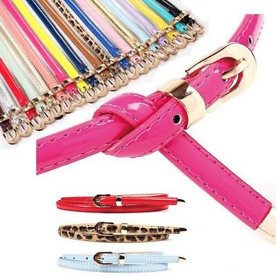 UK Womens Lady Skinny Buckle Waist Belt Thin Leather Narrow Waistband 20 Colors