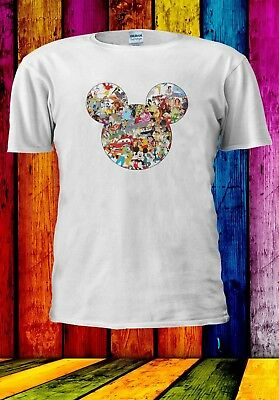 Disney All Characters Mickey Mouse Silhouette Men Women Unisex T-shirt 903