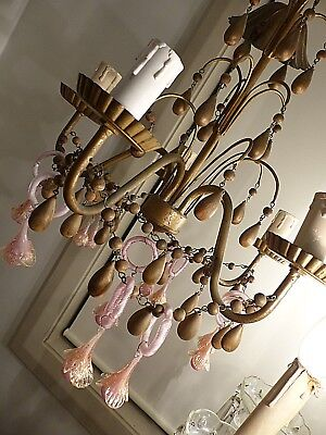 Rare Antique Italian - French Gilt Wood Chandelier With Pink Murano Flowers