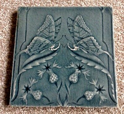 Art Nouveau / Arts and Crafts Thistle/Butterfly Tile Circa 1900 (B)