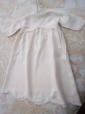 1920's SILK BABY DRESS - CREAM WITH EMBROIDERY