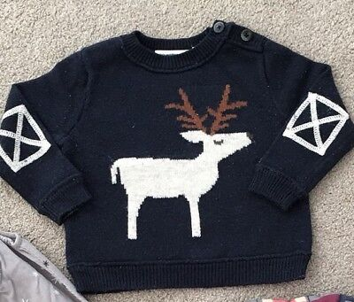 CountryRoad Unisex Knit Reindeer Jumper Size 0 (6-12)Months Country Road Baby