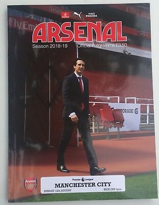 Arsenal vs Manchester City Teamsheet Programme Unai Emery First Game Emirates