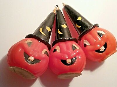 3 Vintage painted GURLEY HALLOWEEN CANDLES - JOL Magician/Witch Hat - No damage!