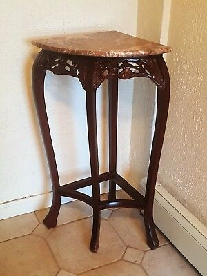 """Royola Pacific Cherry Wood Corner Marble Top Stand 35"""" H"""