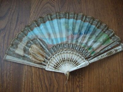 Superb Antique Carved Bovine Bone & Hand Painted Signed Panels Hand Fan