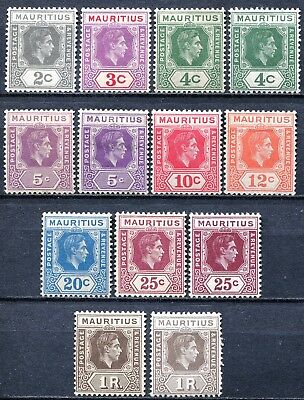Mauritius 1938 issue, SG 252 - 260c including varieties, Mint Hinged, CV £145