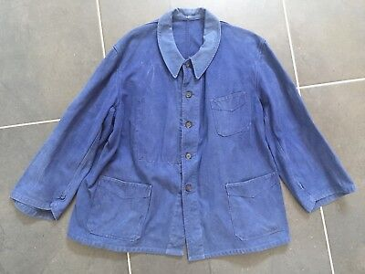 Vintage French Indigo Workwear Veste Travail Coton Great Used Condition