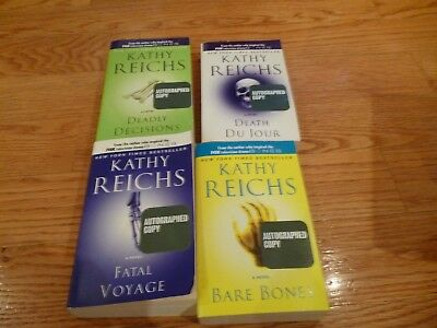 One lot of 4 paperback books + 1 hardcover book (all signed by) Kathy Reichs