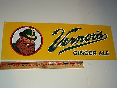BEWARE! NOT 1950's-FAKE! VERNOR'S GINGER ALE 'GOLD BACK' ca1999 FANTASY SIGN-Tin