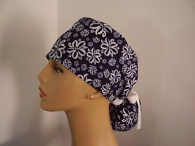 Ponytail Style Surgical Scrub Hat Cap - Navy Floral