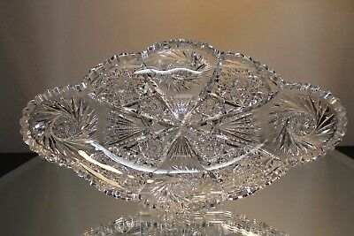 ANTIQUE ABP AMERICAN BRILLIANT PERIOD CUT GLASS ICE CREAM TRAY DISH 14in LONG