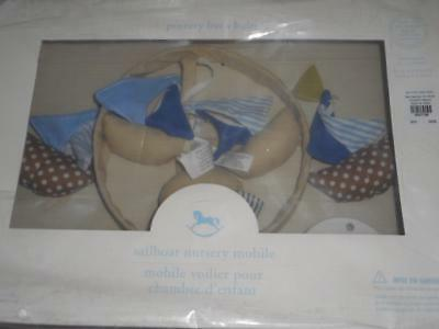 Pottery Barn Baby Sailboat Nautical Nursery Mobile Plays Rock A Bye Baby~New!