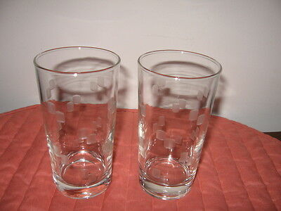 2 Vintage Art Deco 10oz Tumblers Etched with Pairs of Frosted Squares Stackable