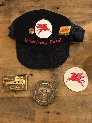 Mobil Gas Buckle Belt Brass Safe Year Safe Patch Hat Pin 125 Performance Sign