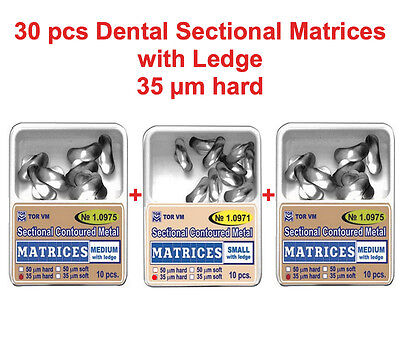 30 pcs Dental Small Medium Sectional Contoured Matrices Matrix with Ledge TOR VM
