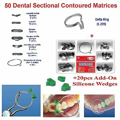 50 pcs Dental Sectional Contoured Matrices Matrix Ring + 20 Silicone Wedges TOR