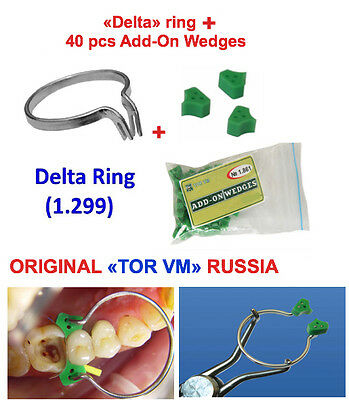 Dental Delta Ring + 40 pcs Elastic Wedges Sectional Contoured Matrices Matrix