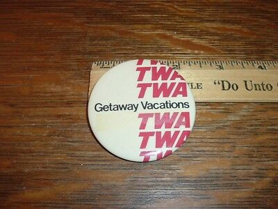 TWA Airlines Pinback Button Getaway Vacations
