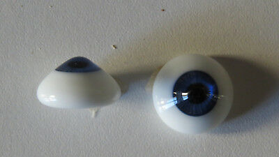 Yeux sulfure poupée ancienne bleu 18 mm  blue paper weight eyes for antique doll